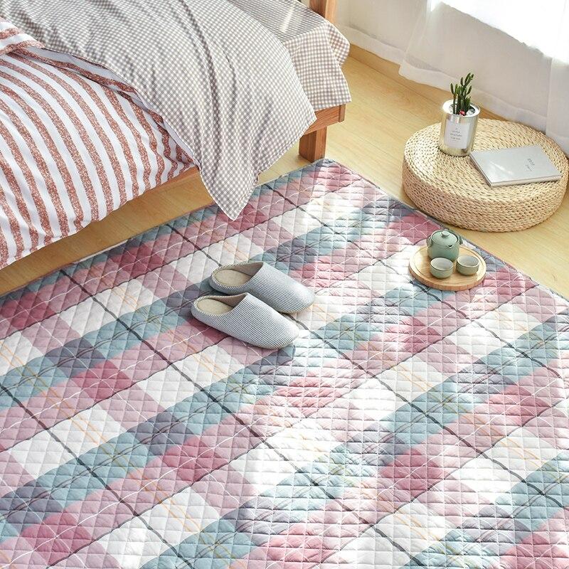 Tatami à carreaux de style japonais, tapis de sol écologique matelassé 100% coton pour salon, tapis de yoga, coussin d'éveil pour bébé