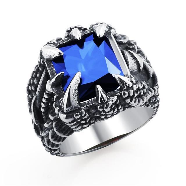 Bague dragon griffe bleu
