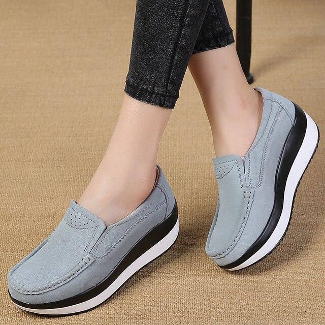 Sapatos de plataforma Plana para As Mulheres Deslizar sobre Mocassins de Couro de Vaca Genuína Balanço Sapatos Sapatos Rasos Senhoras Calçados Casuais Chaussures Femme
