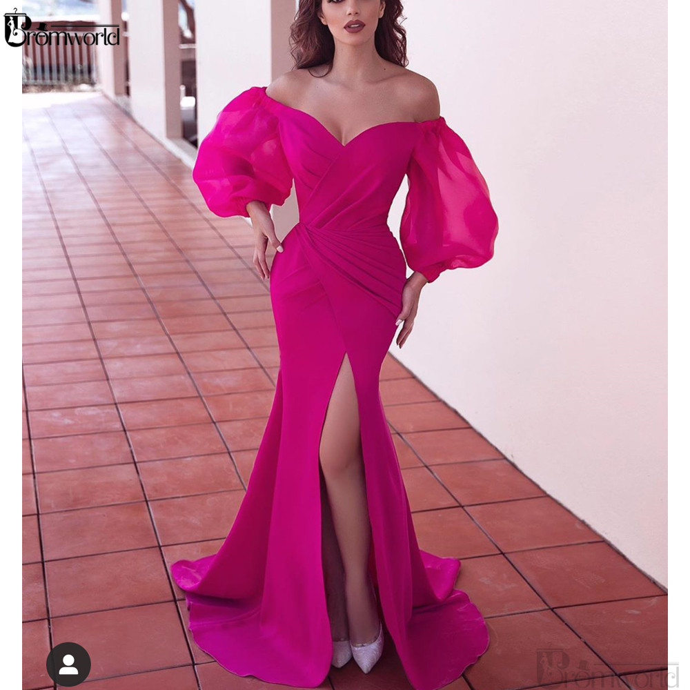 Abendkleider Formal Party Prom Dress Fuchsia Dubai Long Sleeve Mermaid Evening Gowns Elegant Slit Muslim Evening Dresses 2020