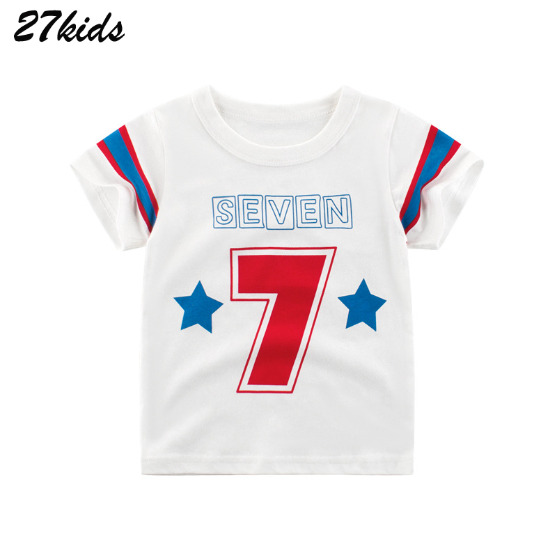 27kids T Shirts Star Number 7 Boys T Shirts For Kids Clothes Fashion Baby Kids Tops Clothing Children T Shirt