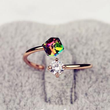 Новое модное винтажное кольцо из розового золота с цирконием для женщин и девочек, аксессуары, ювелирные изделия, оптовая продажа