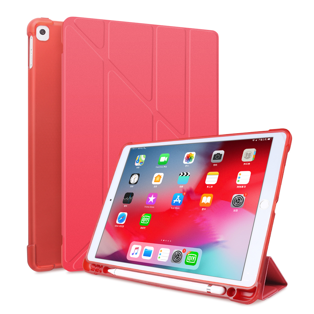Red Red For iPad 10 2 2020 2019 Case A2197 A2270 PU Leather Silicone Smart Cover For iPad