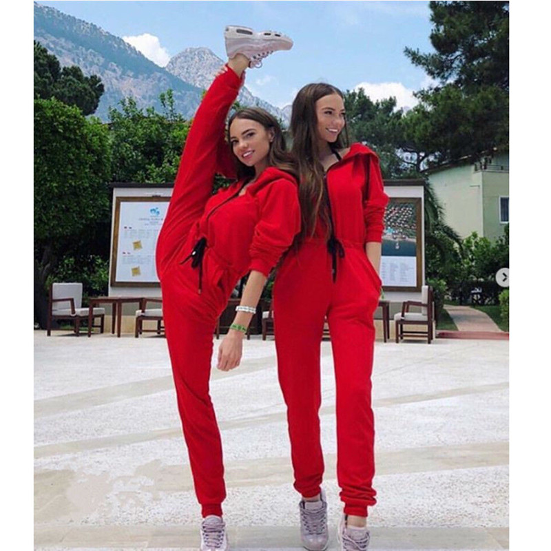 Fashion Zipper Hooded Jumpsuits Women Sexy Slim Casual Hoodies Pockets Sporting Tracksuit