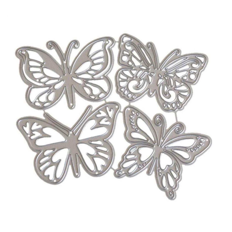 4Pcs Butterfly Shape Cutting Dies Metal Stencil Template For DIY Album Scrapbook Halloween Christmas Thanksgiving Decoration|  - title=