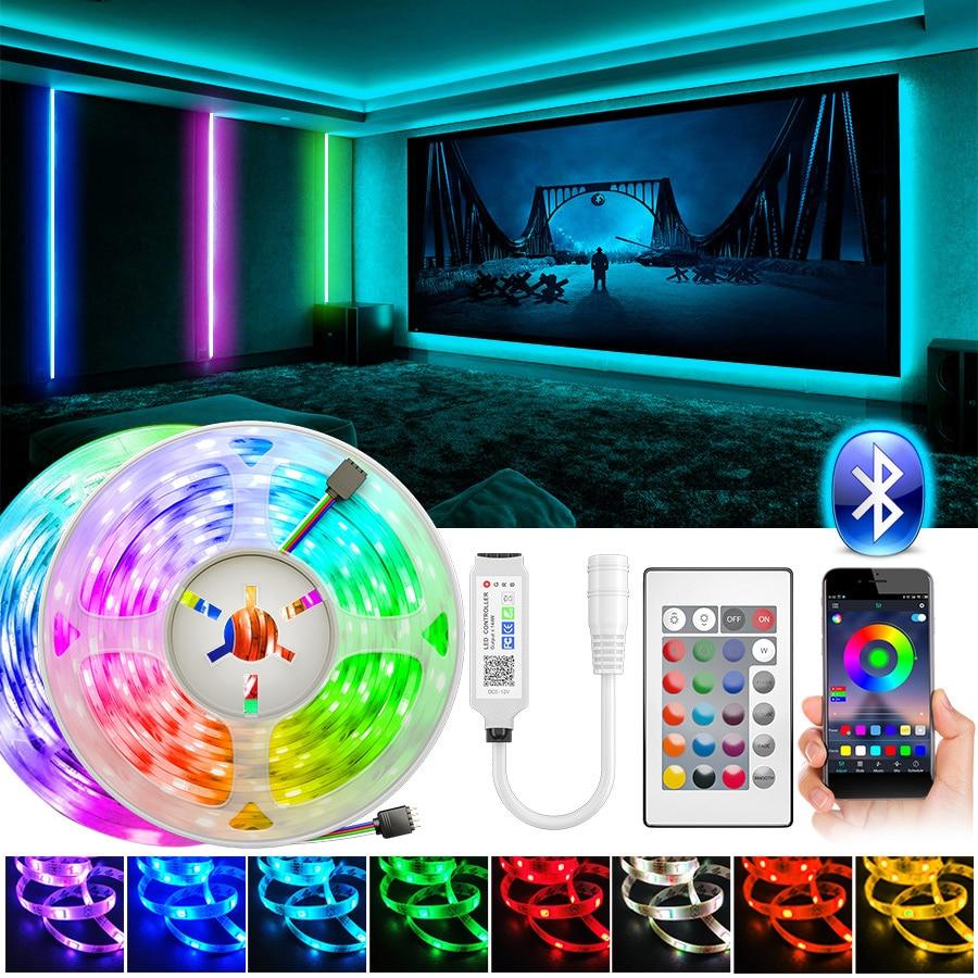 5m10m RGB Светодиодные ленты светильник SMD5050 2835 Bluetooth светодиодный светильник s лента Гибкая не водонепроницаемый RGB светодиодные полосы 12V Свет...