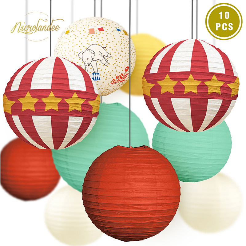 NICROLANDEE Circus Party Decorations - 10 PCS Red White Paper Lanterns For Carnival Kids Birthday Baby Shower DIY Party Decor