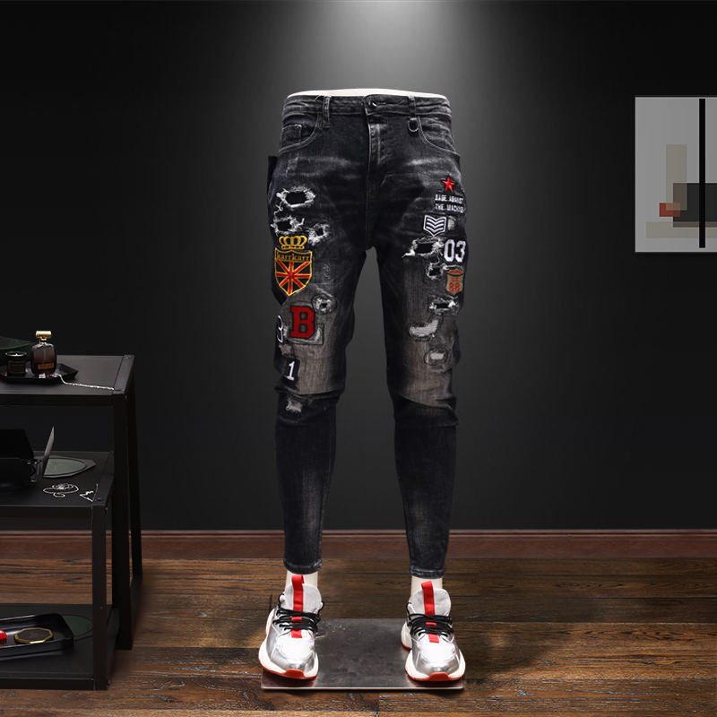 Men New Trend Ripped Embroidery Casual Slim Fit Jeans Pants