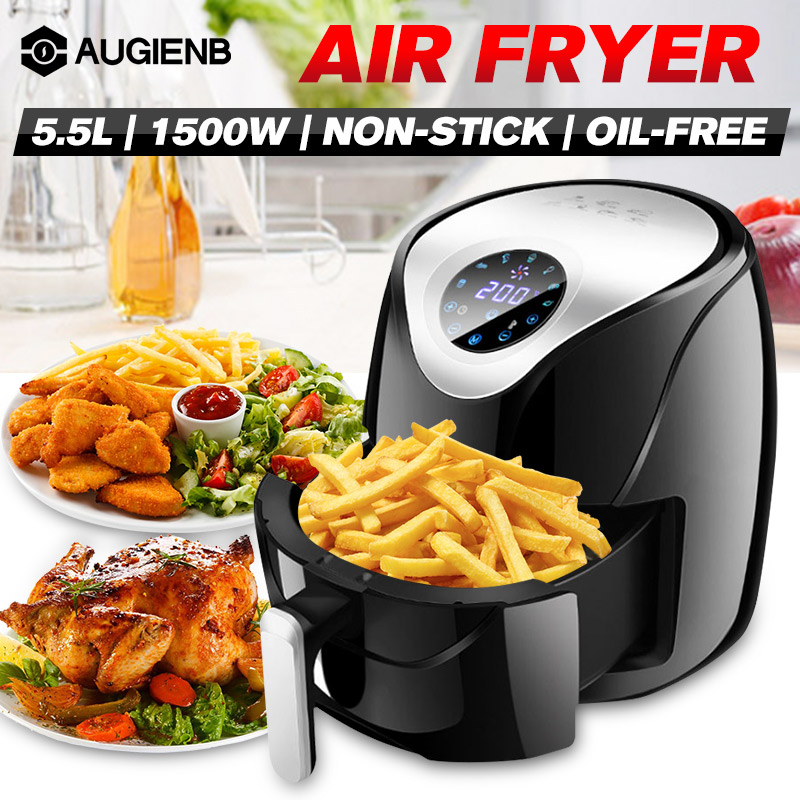 5.5L 1500W Oil Free Air Fryer Health Fryer Cooker Smart Touch LCD Airfryer Pizza Multi Function Smart Fryer For French Fries