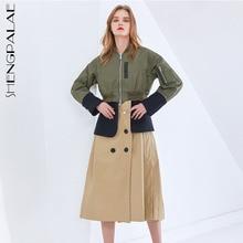 SHENGPALAE Trench diviso a contrasto di colore per donna colletto alla coreana manica lunga Patchwork giacca a vento moda femminile in primavera