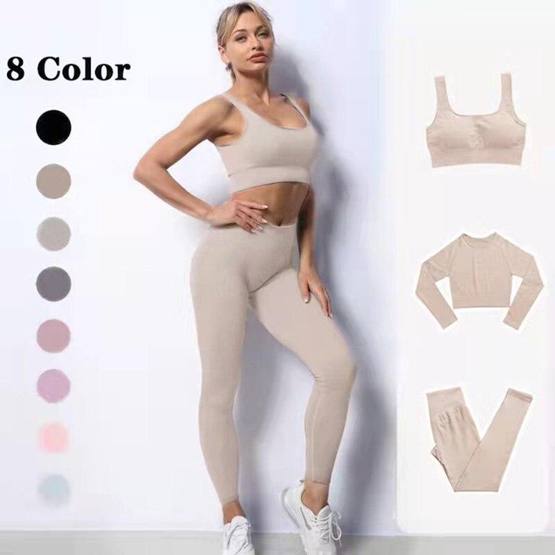 Бесшовный Женский комплект для йоги, одежда для тренировок, одежда для спортзала, спортивная одежда для женщин, комплект для тренажерного з...