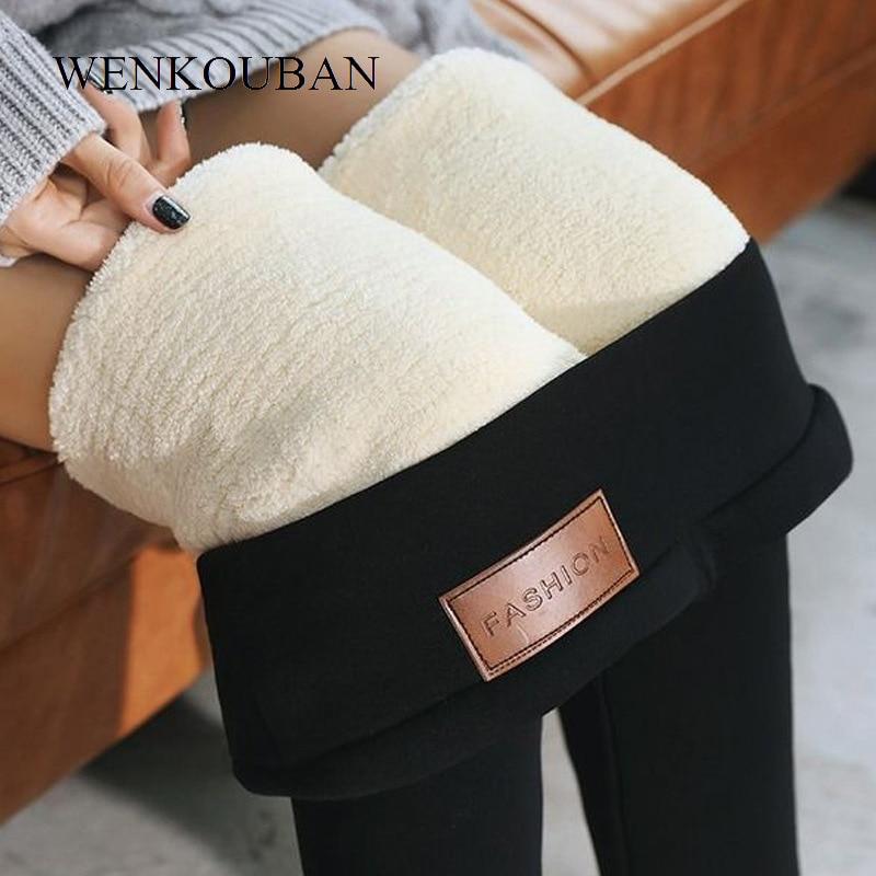 Skinny Pants Women Winter Fleece Elastic Slim Pants Female Black Trouser Ladies High Waist Leggings Pantalon Femme 2019
