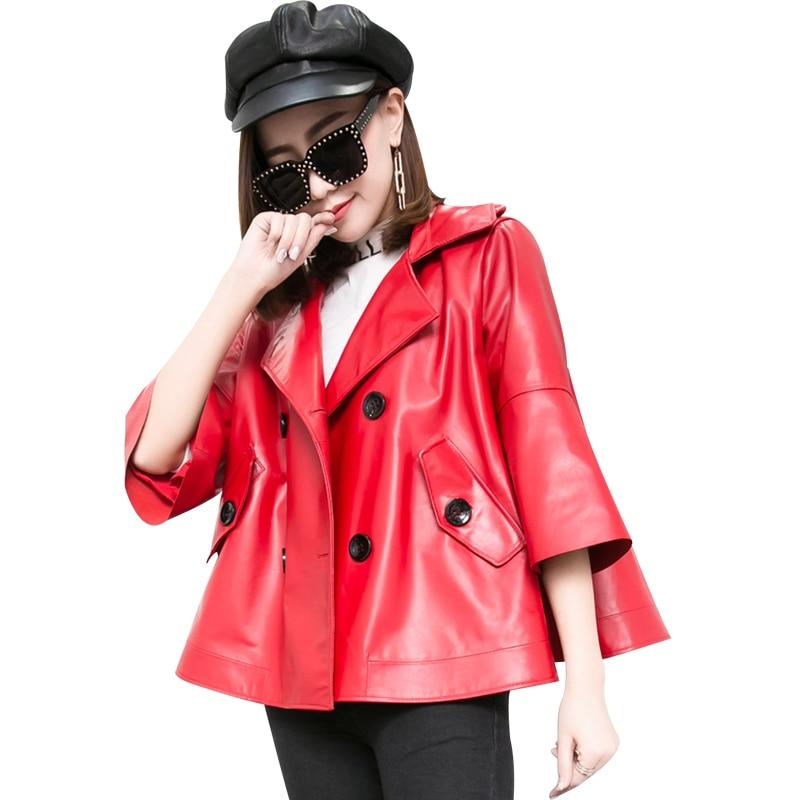 Genuine Leather Short Montone Jacket Women Natural Sheepskin Coat Female Cloak Leather Outwear Spring Clothes LWL1486