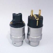 זוג Hi End Krell זהב מצופה האיחוד האירופי תקע חשמל, IEC אודיו מחבר HiFi AC כבל חשמל תקעים, עבור Audiophile DIY חשמל כבל