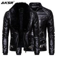 New Men's Biker Leather Jacket Fur Collar Detachable Faux Leather Motocycle Jackets Coats Casual PU Jacket Chaqueta Moto Hombre