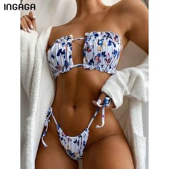INGAGA High Waist Bikinis Swimsuits Bandeau Swimwear Women Thong High Cut Biquini Beachwear Cut Out Bikini Set Bathing Suits trendy rhinestone cut out winebottle keyring
