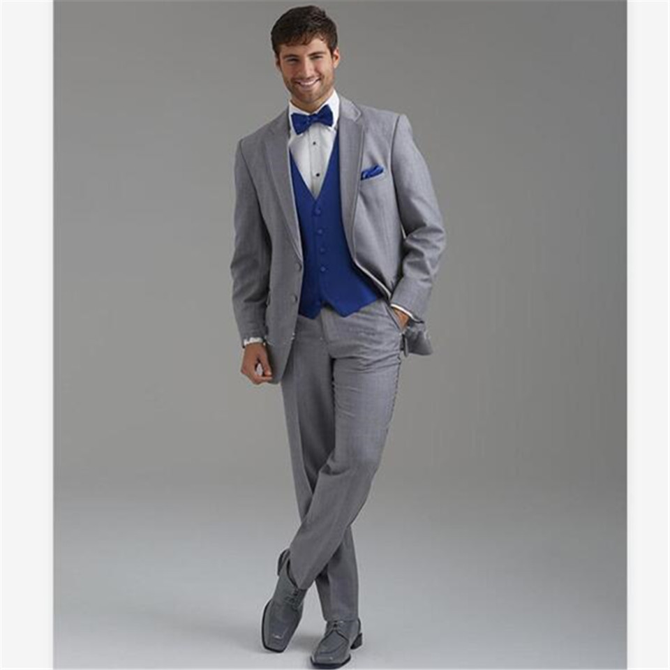 New Men's Suit Smolking Noivo Terno Slim Fit Easculino Evening Suits For Men Best Man Light Grey  Two Buttons Groom Tuxedos Wedd