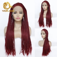 Yomagic Color Synthetic Lace Front Braids Wigs For Women Ombre Brown High Temperature Fiber Hair Braided Wigs