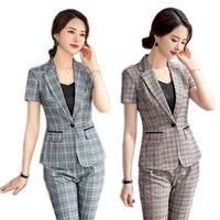 Summer Elegant Women Business Suit Grey Brown Plaid Blazer Pants Sets Ladies Work Wear Uniforms Short Sleeve Jacket Pants Suits