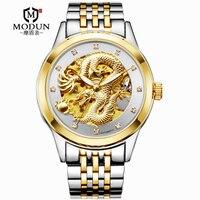 2019 Brand Mechanical Watches 3D Chinese Dragon Pattern Men's Wristwatch Gold Steel Belt MOHDNE relogio masculino