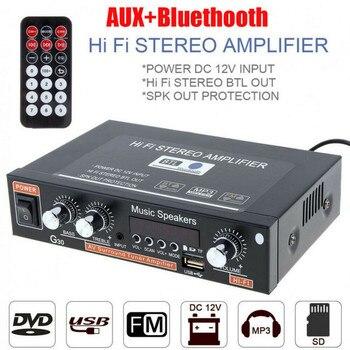 G30-Amplificador Digital para hogar, por Bluetooth Estéreo Hifi, Subwoofer para reproductor de música, compatibilidad con Fm, Tf, Aux, 2 canales con mando a distancia