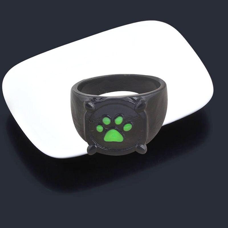 Anime Black Cat Rings Girl Boy Cartoon Green Print Enamel Cat Paw Finger Ring Cosplay Jewelry Party Kids Men Rings Gift