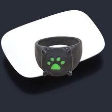 Anime preto gato anéis menina menino dos desenhos animados verde impressão esmalte gato pata dedo anel cosplay jóias festa crianças anéis homens presente