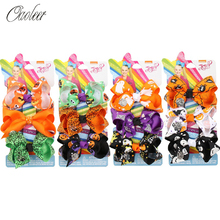 Oaoleer Hair Accessories 4 Sets/Pack 3 Jojo Siwa Halloween Bows For Girls Handmade Boutique Clips Festival Headwear