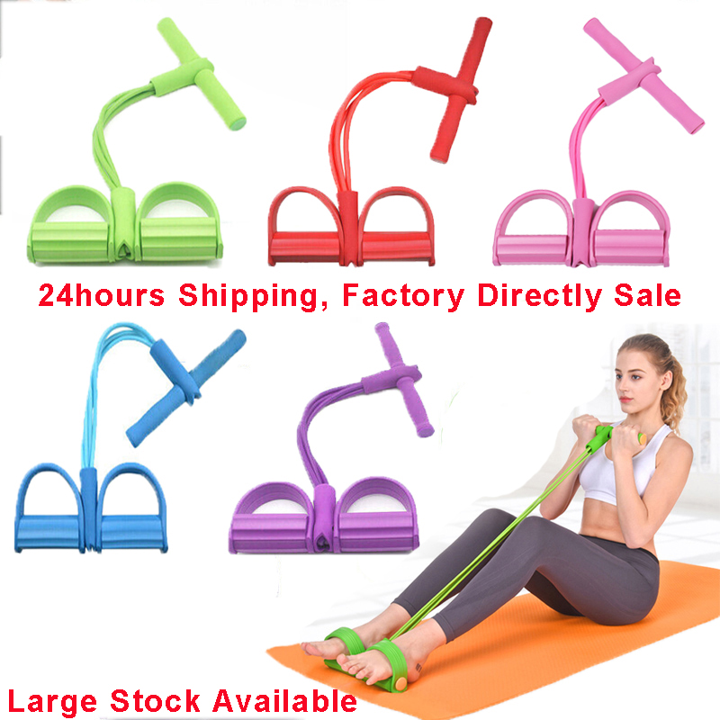 6Colors 4 Tube Latex Resistance Band Sit-up Expander Elastic Bands Yoga Fitness Gum Pull Rope Yoga Equipment Pilates Workout