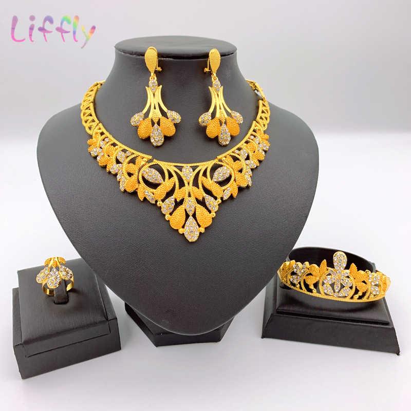 מכירות! 2020 חם חדש קובע פרח שרשרת תלבושות אפריקאי זהב תכשיטי ערכות נשים המפלגה