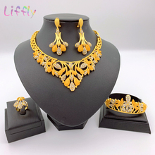 Sales! 2020 Hot New Dubai Jewelry Sets Flower Necklace Costume African Golden Jewellery Kits Women Party bright dubai jewelry sets blue african costume jewelry sets indian beads necklace set christmas boutonniere bridal party gift