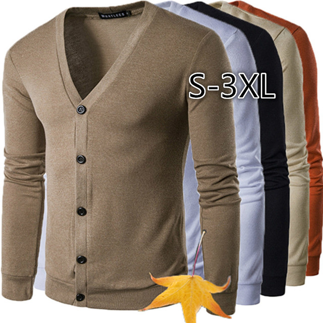 ZOGAA New Brand Sweater Men V-Neck Solid Slim Fit Knitting Mens Sweaters Cardigan Male 2019 Autumn Winter Fashion Casual Coats 1