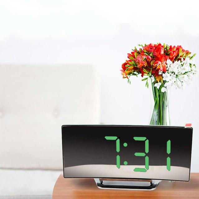 Digital Alarm Clock 7 Inch Curved Dimmable LED Sn Electronic Digital desktop Clock for Kids Bedroom Large Number Table Clock 6