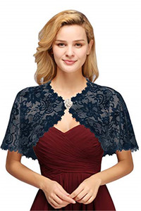 Image 1 - Elegant Bridal Jackets and Shrugs Evening Party Lace Wraps Bolero with Brooch For Women Coat