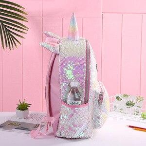 Image 4 - Детский рюкзак с блестками и единорогом, детские школьные сумки для девочек подростков, милый рюкзак с мультипликационным принтом, большой рюкзак для младенцев