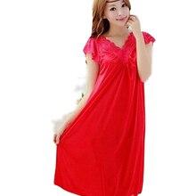 Женская красная кружевная сексуальная ночная рубашка для девушек плюс размер пижамы большого размера ночная рубашка юбка для женщин сексуальная