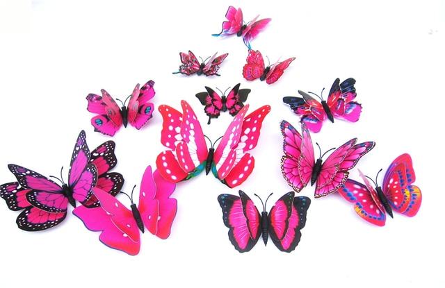 Yellow Orange Pink Butterfly 3D 12Pcs/Set 6