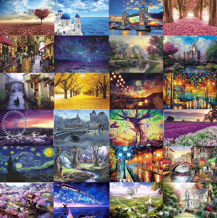 Jigsaw Picture Puzzles 1000 Pieces Assembling Landscape Puzzle Educational Toys For Kids Children Adulto Games Toys Gifts