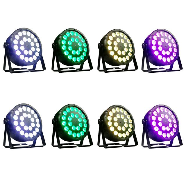 8 Pieces / 24x12w RGBW 4 in 1 Led Par Lights Full Color Led Flat Par Light DMX512 Dj Wash Lamp
