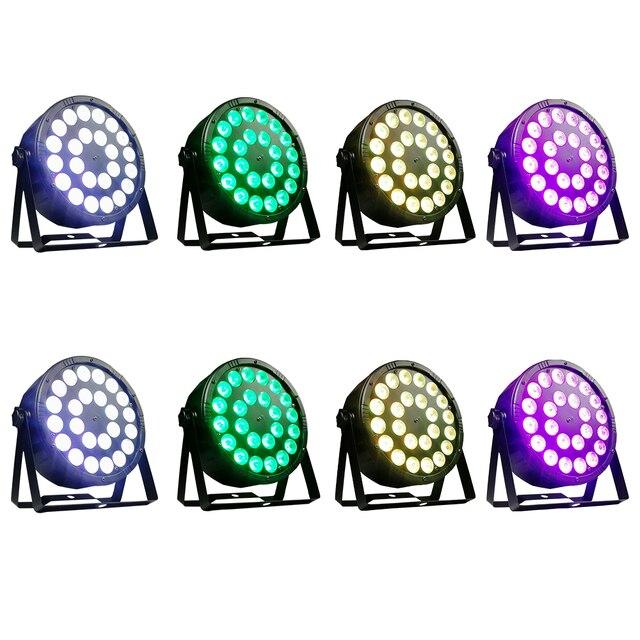 8 adet/24x12w RGBW 4 in 1 Led Par ışıkları tam renkli Led düz Par ışık DMX512 Dj yıkama lambası