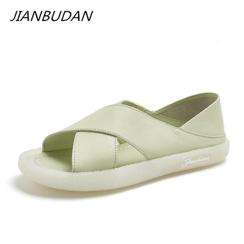 JIANBUDAN Flat sandals Leather Peep Toe Women's Sneaker sandals Summer outdoor casual sandals Soft sole Flat shoes beach shoes sandals women flat shoes bandage bohemia leisure lady casual sandals peep toe outdoor chaussures femme ete fashion shoes