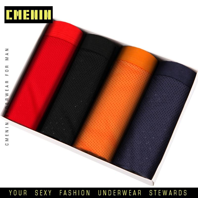4pc/lot Men Underwear Boxer Male Underpants Cotton Boxers Short Mesh Man Panties Breathable Homme Cueca Comfortable AD128