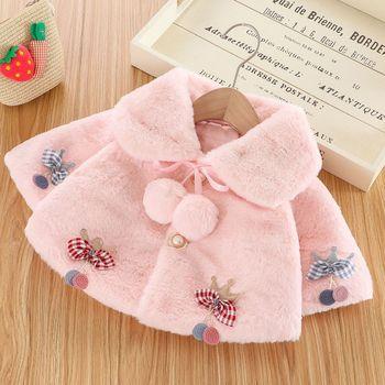 Baby Girls Cloak Coat Kids Princess Clothing Bowknot Printing Winter Coats Toddler Soft Warm