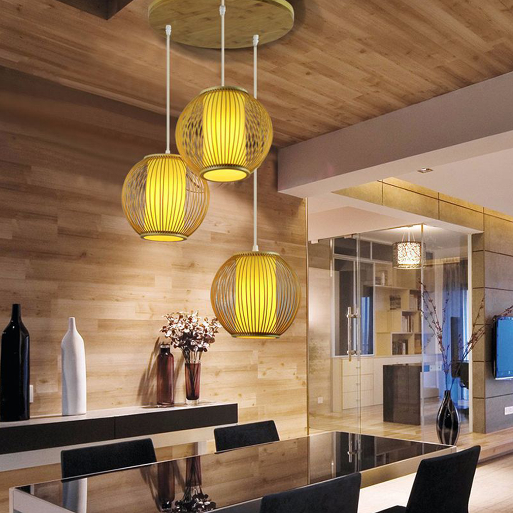 E27 chandelier Staircase Loft Villa creative American Bamboo Cage attic pick high living room decoration lamps