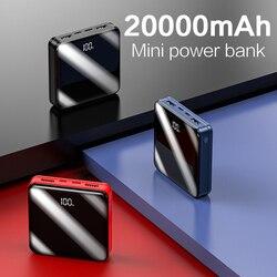Power Bank 20000mAh 2 rodzaj USB C ekran lustrzany Poverbank z LED wyświetlacz mocy przenośna ładowarka do smartfona Mini Powerbank