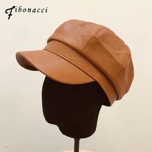 Beret-Hats Fibonacci Cap Octagonal-Hat Faux-Leather Women Solid for French Artist Painter
