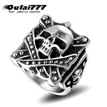oulai777 ring for men's signet ring 2019 new fashion Square black Antique old Silvers ring with black Men skull vintage punk oulai777 signet ring men tainless silver jewelry signet ring men s punk finger fashion hip hop gothic ring men accesories