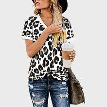 Women Leopard Print T shirt V-Neck Clothes Female Floral Prints Summer 2020 Casual Tops Tee Women tshirt Top Cotton XXL Size