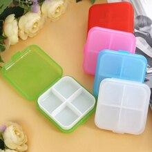 Cross 4 grid pp plastic small medicine box four square square portable storage gift box storage box