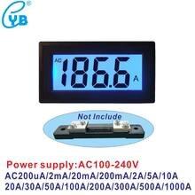 YB5135DB LCD Ampèremètre Numérique Compteur de Courant D'alimentation AC100-240V 220V AC 200mA 2A 10A 50A 100A 300A 500A 1000A 75mV Ampère